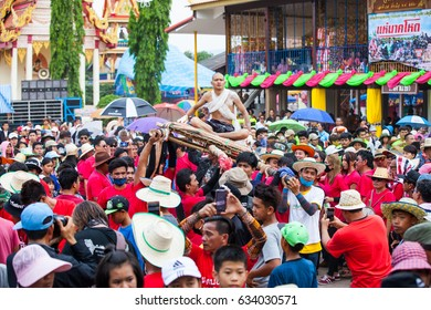 Phu Khieo, Chaiyaphum, THAILAND -  May 2, 2017: The Brutal Ordination Parade a New Monk or Priest.