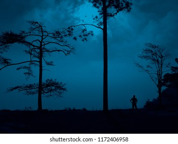 Phu Kradueng National Park at night time in Loei Province of thailand