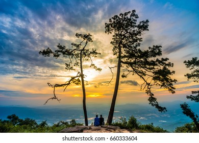 Phu Kradueng People watching the sunrise Lover tree sky  sun Cloud