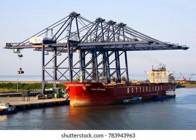 Phu My, Vietnam - 8 September 2017:  Cranes at Phu My port near Ho Chi Minh City