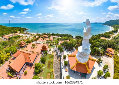 Phu Quoc, Kien Giang, Vietnam - Jan 30th 2019: Coastal Scenery of Ho Quoc Pagoda With Guan Yin Statue Overlooking the Sea, Phu Quoc Island, Vietnam, a Tourism Destination for Summer Vacation in Asia.