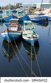 PHU QUOC, VIETNAM - 01 FEBRUARY 2014: local fishing vessels at anchorage on island harbor in February 01, 2014.