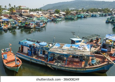 PHU QUOC, VIETNAM - 02 FEB 2016: local fishing vessels at anchorage on island harbor on February 02, 2016 in Phu Quoc, Vietnam.