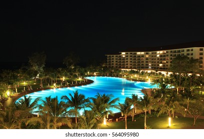 Phu Quoc, Vietnam - Apr 5, 2015: View of Vinpearl Phu Quoc resort by night, a project by Vingroup corporation, in Phu Quoc island. Phu Quoc is one of the world's most beautiful beaches.