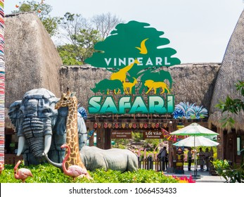 PHU QUOC, VIETNAM - FEBRUARY 12, 2018: View of the entrance to the Vinpearl Safari zoo park.
