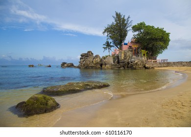 Phu Quoc, Vietnam - Mar 19, 2017: Phu Quoc island in a corner of a sunny day, far from the noise Dinh Cau temple, a famous religious view point on the island.