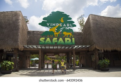 Phu Quoc, Vietnam - Mar 20, 2017: Welcome gate of Vinpearl Safari Phu Quoc park. This is the largest zoological park in Vietnam, conserve abundant indigenous and exotic flora and fauna.