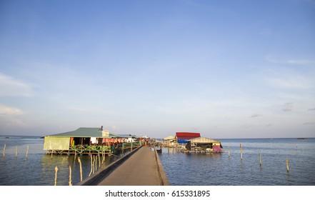 Phu Quoc, Vietnam - Mar 21, 2017: Floating restaurant on a harbor of Ham Ninh traditional fishing village, Phu Quoc island, south Vietnam.