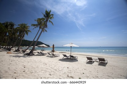 PHU QUOC, VIETNAM - March 21, 2017: Sao beach: a tropical beach with palm trees and blue sky on the island of Phu Quoc, Vietnam