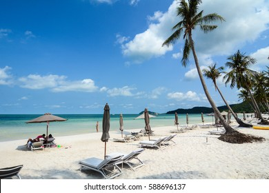 Phu Quoc, Vietnam - May 11, 2016. Relaxing chairs on the beach in Phu Quoc, Vietnam. Phu Quoc is the largest island in Vietnam, has a total area of 574 square kilometres.