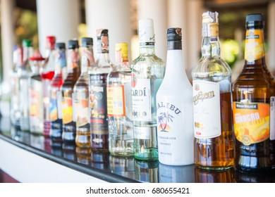 Phuket , 16 June 2017 ::liqour bottles on bar for drink , pub