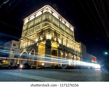 PHUKET APR 30: City light with vintage buildings in Phuket, Thailand on April 30, 2018. Phuket is one of the most famous island for tourist in Thailand.