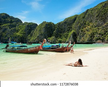 PHUKET APR 30: Tourists at Maya beach, Phi Phi island, Thailand on April 30, 2018. This beach is the famous and beautiful beach in Thailand.