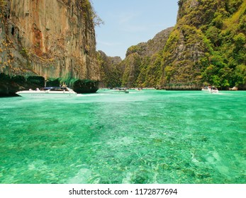 PHUKET APR 30: Tourists visit beautiful lagoon at Phi Phi island, Thailand on April 30, 2018. Phi Phi island is one of the most famous island for tourist in Thailand.
