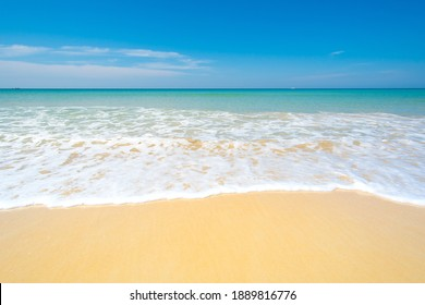 Phuket beach sea. Beautiful beach with sand and turquoise water. Nature and travel concept.
