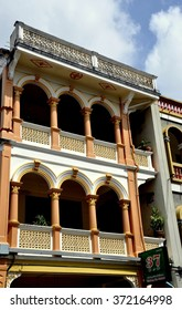 Phuket City, Thailand - January 8, 2011:  Finely restored late 19th century Sino-Portuguese shop house in the Krabi Road historic district