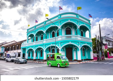 Phuket Districtul Mueang, Thailand. August 3, 2019: Old town of Phuket, blue building and city life. Between Dibuk Rd and Yaowarat Rd. Blue sky with clouds.