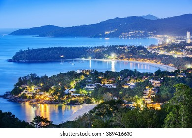 Phuket at dusk, Patong Beach, Karon Beach, Kata Beach, Taken from Karon Viewpoint. Phuket, Thailand.