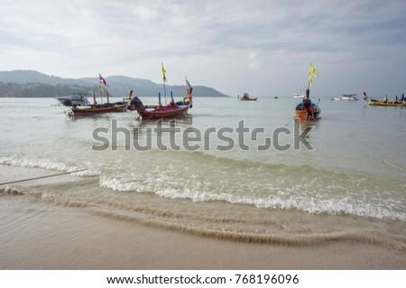 PHUKET ISLAND THAILAND JANUARY Excursion Boats Stock Photo
