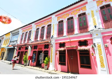 Phuket - May 13 : Old building Sino Portuguese style in Phuket on May 13, 2014 in Phuket, Thailand. Old building is a very famous tourist destination of Phuket.