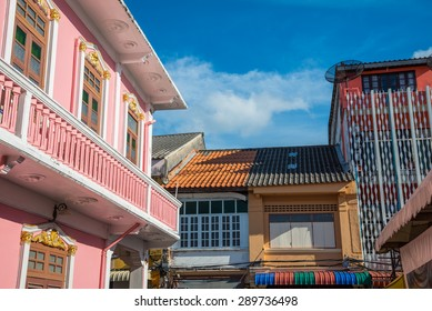 Phuket old town : Sino-Portuguese Architecture buildings. This architectural style is European mixed with Chinese modern