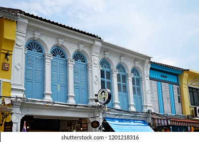 Phuket Old Town, Thailand - April 29, 2017: Low angle view of Sino-portuguese facades.