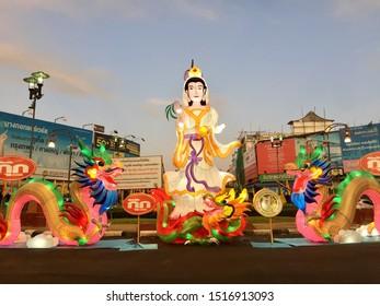 Phuket Old Town, Phuket / Thailand-September29,2019 : Beautiful lanterns for ceremony the grand opening of Vegetarian festival in Phuket old town.