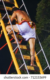 Phuket, southern Thailand- October 7,2016 -There is 9 days vegetarian festival. There are various rituals each day,including climb the ladder knife, 72 steps in the ladder, 36 steps up, 36 steps down.