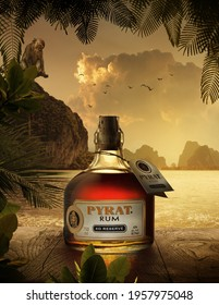 Phuket, Thailand- 01 Feb 2019. Pyrat Rum XO Reserve. Very special amber Carribean blended rum from Anguilla Rums Ltd. in the West Indies.
