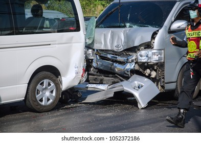 Phuket, Thailand - 11 Febuary, 2018: The cars crashed on the road, cars accident on the road at Phuket Thailand and the police is clearing the way for other cars and reduce the car traffic.