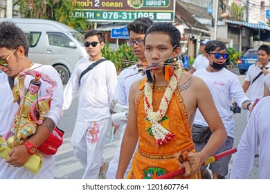 Phuket Thailand 13 October 2018, The parade of Vegetarian festival show the Devotee person who invite the spirit of gods to possess their bodies (Annual fair of 9th lunar month of Chinese calendar)