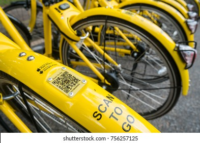PHUKET, THAILAND 14 NOV 2017 : Ofo bike The yellow bike in bike sharing project Under the Government's policies in developing the Smart city of Phuket