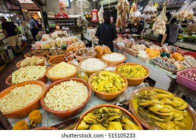 PHUKET, THAILAND - 16 Oct 2016: Fruit, vegetables, fish, and meat at the Robinsons Fresh Market on October 16, 2016 in Phuket Town, Thailand.