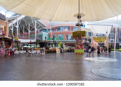 Phuket, Thailand - 23rd February 2017: Shoppers walk through the entertainment area in Jung Ceylon Shopping mall, Patong. The mall is one of two located in Patong.