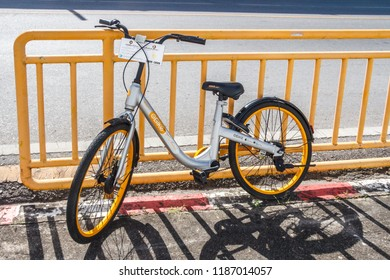 Phuket, Thailand - 2nd September 2018: Obike bicycle sharing bike. Chinese companies are trialling bicycle sharing in Phuket