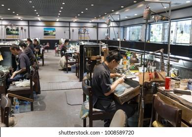 PHUKET, THAILAND 9 JANUARY, 2018: Thai Jeweler making Jewelry in workshop. Handmade traditional jewel Manufacturing in Phuket Thailand