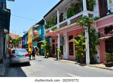 Phuket, Thailand - April 15, 2014 : Old building Chino Portuguese style in Phuket on April 15, 2014 in Phuket, Thailand. Old building is a very famous tourist destination of Phuket.