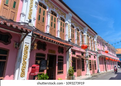 PHUKET, THAILAND - APRIL 19, 2018: Soi Rommanee in Phuket old town with old building in Sino Portuguese style.