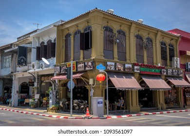PHUKET, THAILAND - APRIL 19, 2018: Phuket old town with old building in Sino Portuguese style. Phuket old town, is historical town forming part of Phuket City.