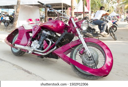 Phuket, Thailand - April 2019: Beautiful and powerful motorcycles at Phuket Bike Week Show. Exclusive custom and tuning bikes. Annual gathering of bikers with their motorcycles from around the world