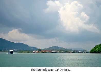 Phuket, Thailand - April 29, 2017: Rassada pier, the main harbor of Phuket on the East coast of the island.