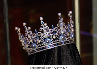 Phuket, Thailand - August 08, 2017. crown made of pearls, precious stones and gold for the winner in a beauty contest among the Eastern girls MISS Thailand world 2016