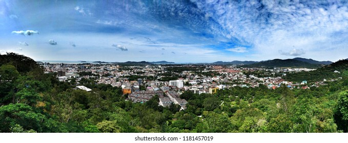 Phuket, Thailand -August 16, 2018: Khao Rang Viewpoint or Rang Hill Viewpoint offers unrivalled views to the south, right across Phuket island's main city.