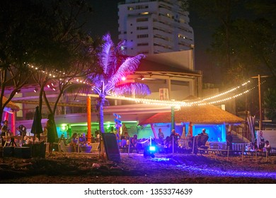 PHUKET, THAILAND - AUGUST 26, 2018: Beach club on Patong.