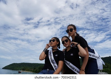 """Phuket, Thailand - August 29, 2017 ; Miss Pageant Contest """"Miss Supranational Thailand 2017"""", Camping Trip and Activity by travelling speed boat to ocean island"""