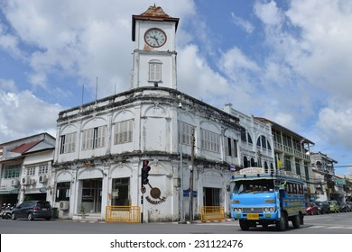 PHUKET, THAILAND - August 29th 2014 : Old Police Station Now Become A Landmarks of Chino Portuguese Building in phuket Town. The Local Public Transportation Is Convenient For getting around the town.