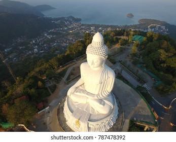 Phuket, Thailand - CIRCA March 2016 aerial oh Buddha morning sunrise