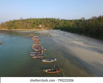 Phuket, Thailand - CIRCA March 2016 :aerial of the longboats at kata beach