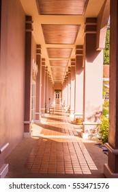 Phuket, Thailand - Dec 10, 2016: Walk way of Phuket Mining Museum building. It is Shino-Protuguese architectural style