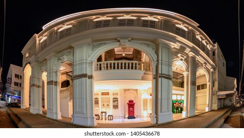 Phuket, Thailand - Dec 12 2018 : Panorama vintage building of Kasikorn bank or K-Bank for deposit and cash with lighting at night